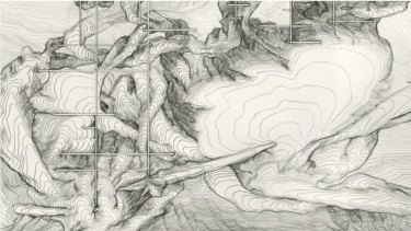 A section of <i>Drawing Water Table</i> wall mural by James Geurts.