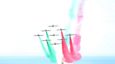 An aerobatic team put on a display for G7 leaders in Taormina, Italy.
