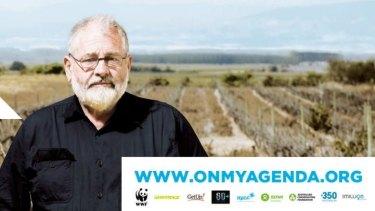 Grape farmer David Bruer, features on a billboard vetoed by Brisbane Airport Corporation.