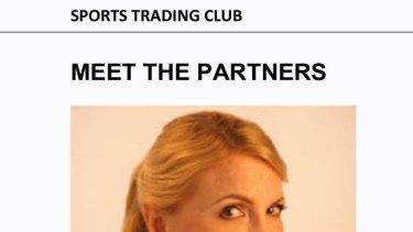 Former high profile defence lawyer Leigh Johnson as seen in Sports Trading Club website.