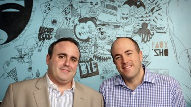 Jason Hirschhorn, 38, left, and Mike Jones, 34 right at the MySpace headquarters in Beverly Hills, California.