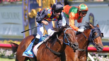 Ryan Maloney rides Shamal Wind to victory ahead of Andrew Mallyon on General Truce.