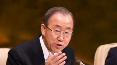 The United Nations Secretary General Ban Ki-moon opens the UN Climate Summit 2014 at the United Nations in New York.