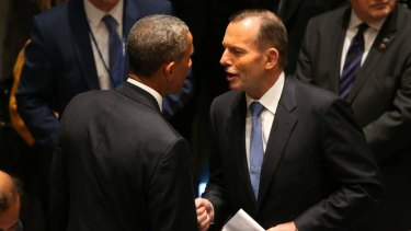 Tony Abbott meeting US President Barack Obama at the UN Security Council meeting. Pool photo, supplied.
