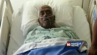 Not dead yet: Farmer Walter Williams makes it onto WAPT News after kicking his way out of a body bag at Porter and Sons Funeral Home in Lexington, Mississippi.