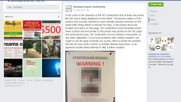 A poster posted on the Scotland Island Community Facebook page is at the centre of one of Nader Mohareb's claims.