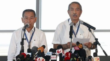 Few clues to disaster: Malaysia Airlines Chief Executive Ahmad Jauhari Yahya (L) and Chairman of Malaysia Airlines Tan Sri Md. Nor Bin Md. Yusof speak to media.
