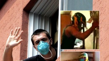 An Australian lacrosse player waves from quarantine in South Korea and, inset, stills from their video.