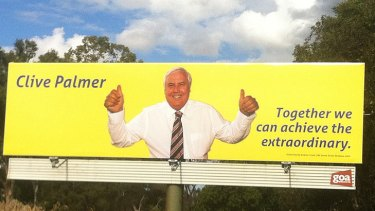 Clive Palmer has erected a billboard on Sandgate Road, Virginia, in Treasurer Wayne Swan's electorate of Lilley.