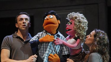 Centre stage ... Mitchell Butel and Michala Banas in <i>Avenue Q</i>.