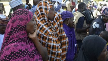 Mothers of kidnapped schoolgirls at a meeting with the state governor in Chibok.