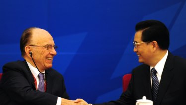Rupert Murdoch and Chinese President Hu Jintao at the World Media Summit in Beijing.