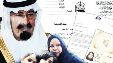 Nightmare ... Jennifer Birrell, above with three of her children, has appealed to Saudi Arabia's King Abdullah, top left, for help in getting an exit visa. Inset, her jailed husband, Mohammed Nagi.