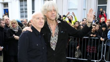 Midge Ure and Bob Geldof at the recording of the Band Aid 30 single in London on Saturday.