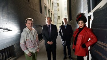 Outraged: (from left) Gavin Campbell, Gary Singer, Geoffrey Smith and Miss Vic.