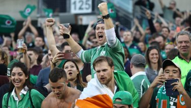 Irish fans celebrate the shock victory.