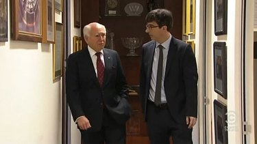 Former PM John Howard with <i>The Daily Show</i>'s John Oliver.