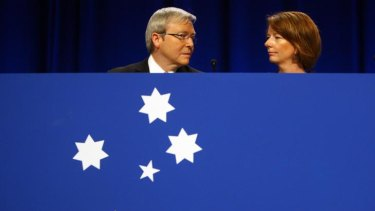 Kevin Rudd and Julia Gillard at at the Australian Labor Party National Conference in Sydney in July 2009.