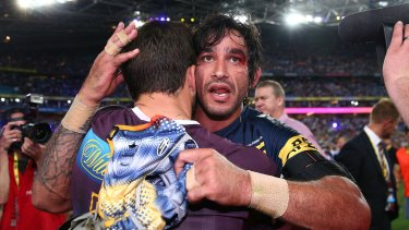 Hold your head up high: Johnathan Thurston had nothing but words of encouragement for Hunt after his horror end to the match.