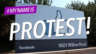 Protest: those opposed to Facebook's 'real name' policy have descended on the site's headquarters.