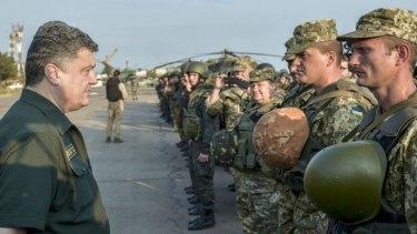 Grateful for Australian assistance ... Ukrainian President Petro Poroshenko speaks to servicemen of the Ukrainian Army.