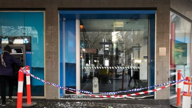 The ANZ bank this morning after it was rammed overnight by a SUV driving down the footpath.