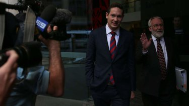 No one talks: Charles Perrottet leaves the ICAC with his counsel yesterday.