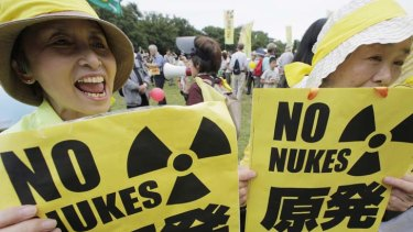 Protest ... women rally against the reactors reopening.