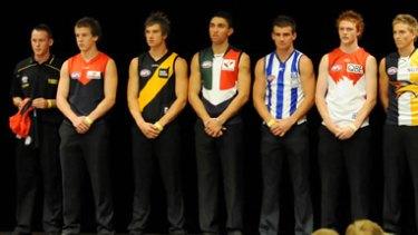 The top ten draft picks: Tom Scully, Jack Trengove (both Melbourne), Dustin Martin (Richmond), Anthony Morabito (Fremantle), Ben Cunnington (North Melbourne), Gary Rohan (Sydney), Bradley Sheppard (West Coast), John Butcher,  Andrew Moore (both Port Adelaide), and Jake Melksham (Essendon).