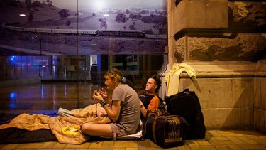 On the streets: Couple Shane and Teresa have been sleeping outside Central Station as they await suitable housing.