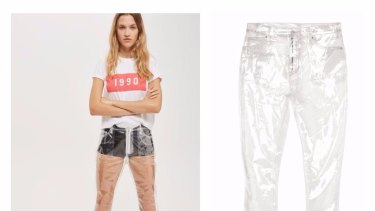 Topshop's clear plastic 'jeans', which cost about $100.  Research shows 1.7 million Australians are buying at least one pair of jeans in any four-week period.