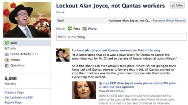A Facebook page calling for Alan Joyce, not workers, to be locked out.