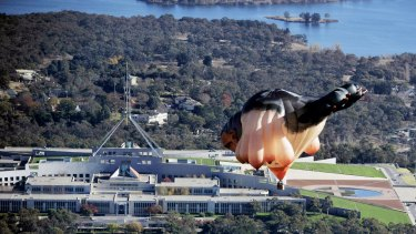 The Skywhale flying over Canberra.