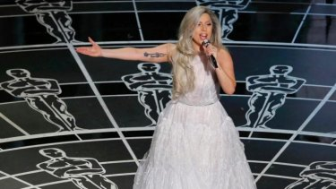 Lady Gaga performs songs from <i>The Sound of Music</i> during the 87th Academy Awards in Hollywood, California.