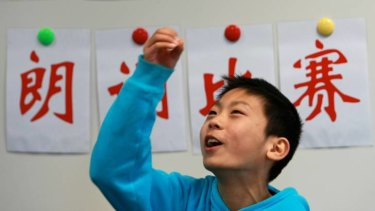 A Mandarin student at the Xin Jin Shan Chinese Language and Culture School.