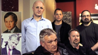 (Front, left to right) Paul Tatchell and Paul Lyons, (back, from left) Andrew Collins, Peter Blenkiron and Stephen Woods. Insets: As children in Ballarat, Peter Blenkiron (top) and Paul Lyons