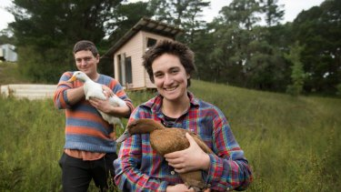 Rachel Newby and Liam Culbertson aim to live on less than $100 a week as part of the Wurruk'an eco village in Gippsland.