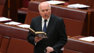 Attorney-General Senator George Brandis in the Senate on Tuesday.