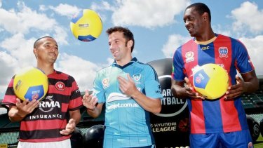 Marquee men: The Wanderers' Shinji Ono, Sydney FC's Alessandro Del Piero and Emile Heskey of the Newcastle Jets.