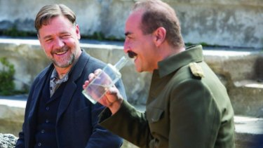 Russell Crowe shares a moment with  Major Hasan (Yilmaz Erdogan) in  The Water Diviner.