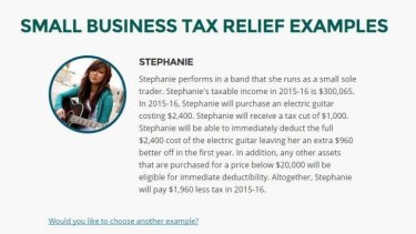 A case study from the government's 2015 budget website showing deductions for a fictional Australian musician who earned $300,065 a year.