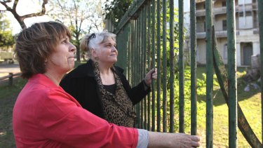 Haunting: Bonney Djuric, left, and Christina Green at the former site of controversial detention centre Parramatta Girls Home.