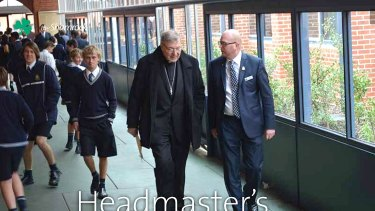 Prinicpal John Crowley controversially escorted George Pell around St Patrick's College in March 2015. Image from St Patrick's magazine April edition.