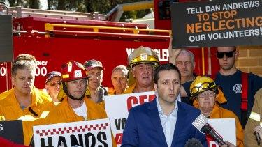 CFA volunteers with the opposition leader Matthew Guy in Warrandyte.