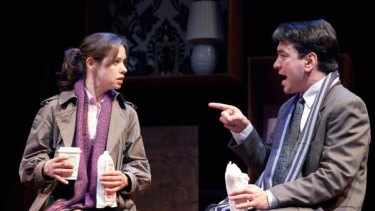 Kate Atkinson and Alex Papps in <i>Becky Shaw</i>. The acting is polished and nuanced.