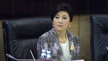 Ousted Thai prime minister Yingluck Shinawatra looks on as she faces impeachment proceedings by the military-stacked National Legislative Assembly (NLA) at the parliament in Bangkok.