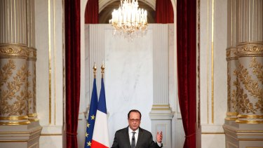 French President Francois Hollande makes a statement following the US election.