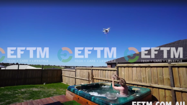 The drone delivering the sausage to a hot tub in Sunbury.