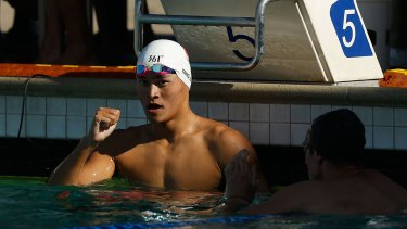 China's Sun Yang was unable to catch rival Mack Horton.