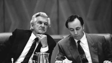 Sparring partners ... Bob Hawke and Paul Keating at the Premiers Conference at Parliament House in 1991.